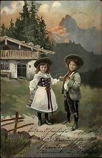 1903 Postkarte Junge Mädchen Trachten Kleidung Berg Region Stempel Meissen