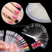 100 PCS Nail Art Tips Colors Sticks Display Fan Clear White False Practice kit