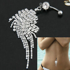 Body Piercing Jewelry Crystal Tassel Chain Dangle Navel Belly Button Ring Bar