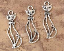 40PCS Tibetan Silver pendants Fashion Hollow Cat Charm Pendant 33X10MM B3341
