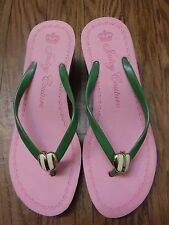 """Juicy Couture Green&White Striped Bottom on Pink Flip Flops Sandal Shoes"""""""