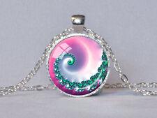 FIBONACCI SPIRAL Cabochon Tibetan silver Glass Chain Pendant Necklace