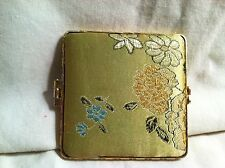 "Vintage Compact Double Sided Mirror Yellow Flowers 2 3/4"" Square Gold Edges"