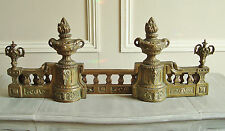 SUPERB PAIR ANTIQUE FRENCH BRONZE RAM'S HEAD ANDIRONS FIRE DOGS SET 19th CENTURY