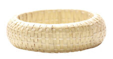 Charismatic- Intricate Hand Woven/chunky Crème Bamboo Hand Bangle (Zx145)