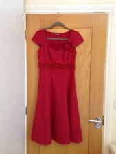 PER UNA Red Cap Sleeve Calf Length Fitted Linen Dress Size 8R - Worn Twice £69