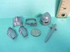 Playmobil accessories SET OF 6 PIECES OF SILVER ARMOR helmet sword etc