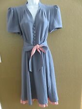 Betsey Johnson Collection gray pink w/belt dress size 12