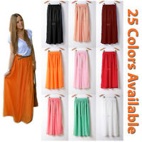 Women Double Layer Chiffon Pleated Retro Long Maxi Dress Waist Skirts HOT Beach