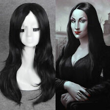 Morticia Addams Adams Family cosplay wig long black natural straight full wigs**