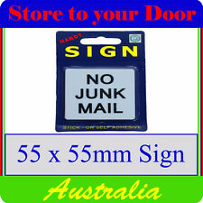 No Junk Mail Sign, Letterbox sign - stick on - SMALL
