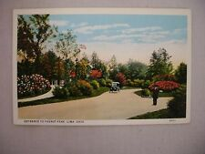 VINTAGE POSTCARD OF THE ENTRANCE TO FAUROT PARK IN LIMA, OHIO UNUSED
