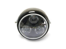 Black Metal Motorbike LED Headlight With Green Halo Ring For Ducati Monster 600