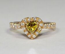 14k Rose Gold White and Heart Shaped Greenish-Yellow Diamond Ring Size 5.25