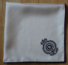 White with blue border silk Pocket Square. RAC crest.Hand rolled edges. New