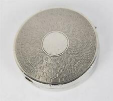 Art Deco Sterling Silver Ladies Circular Compact Box