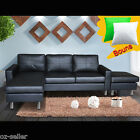 PU leather Corner Sofa Suite Lounge Couch Furniture Chaise Set With Ottoman