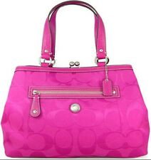 Coach Laura Signature Kisslock Shoulder Hand Bag Carryall F14940 Pink RARE  EUC