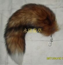 100%Real Red Sunny Fox Tail FurHandbag Accessory Key Chain Ring Hook Cosplay Toy