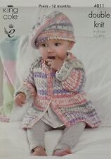 KNITTING PATTERN Baby Cable and Rib Coat and Beret Hat DK King Cole 4011