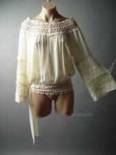 Ivory Crochet Renaissance Medieval Wench Women LARP Peasant Top 87 fp Blouse 1XL