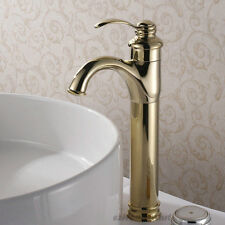 Luxury Gold Polished Brass Single Lever Bathroom Vanity Sink Basin Mixer Tap