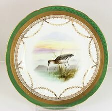 ANTIQUE MINTON CHINA G9216 CABINET PLATE HAND PAINTED BIRD RAISED GOLD ENCRUSTED