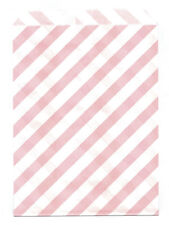 25 Pcs Light Pink Diagonal Stripes 5x7 Print Paper Gift Bags Favor Candy Shop
