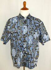Mens Kahala 1936 Hawaiian Camp Shirt Tribal Blue Beige White XL