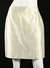 AGNONA Metallic Ivory White Silk Lame Pencil Skirt 46