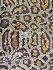 LEOPARD SEQUINS SPANDEX DECORATIVE DRESS FABRIC - Black/Gold - BY YARD SHINY