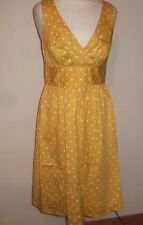 LADIES TOM JOULES YELLOW CALANTHA DOTTY POLKA DOT FITTED DRESS SIZE 8