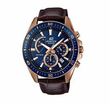 Casio EFR552G-2A Edifice Men's Watch Navy/Rose Gold/Leather WR 10 ATM RRP$199