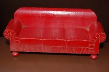 Vintage Strombecker Wood Dollhouse Miniature Red Sofa Couch Furniture 1930's
