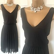 WALLIS Dress Size 14 Black Pleated Formal Evening Occasion Party,