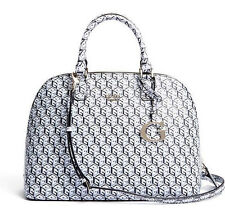 NEW GUESS BLACK AND GREY G CUBE DOME SATCHEL HANDBAG BAG PURSE