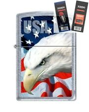 Zippo 3021 usa flag and eagle Lighter with *FLINT & WICK GIFT SET*