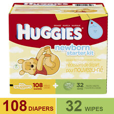 Huggies Little Snugglers Newborn 108-Diapers & 32-PK Gentle Wipes Kit NEW!!!