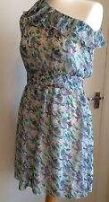 NEW YORK LAUNDRY DRESS UK 10 Women's Ladies Blue Floral One Shoulder BNWT