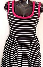 Plus 3X~Torrid~Black Stripe Knit Dress~Skater~Fit n Flare~Scoop~Retro~Rockabilly