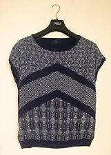 NEXT NAVY WHITE SILKY FRONT PANELLED PATTERNED & COTTON KNIT BACK JUMPER TOP 16