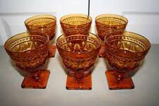 Vintage Colony Park Lane Amber Honey Gold Pressed Glass Sherbet Dessert Dishes