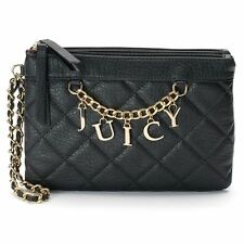 Juicy Couture Black Quilted Charm Wristlet Clutch Hand Bag Purse Double Zippers