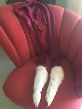 REAL White Long FOX Fur TAILS Burgundy WOOL Avant Garde Vintage Wrap SCARF Boa