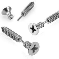 Cross Screw Fake Ear Plug Cartilage Tragus Piercing Steel 6mm x1.2mm Silver