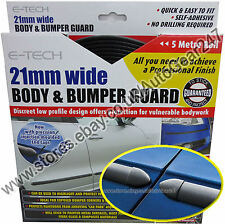 E-Tech 21mm 5m BLACK Car Door Body & Bumper Guard Protector Strip with End Caps