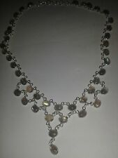 925 STERLING SILVER TIERED 33 MOONSTONE GEM CABOCHON DROP CHAIN NECKLACE