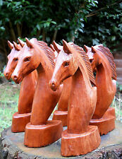 Carved Wooden Horse Head Bust 20 cm Brown Indonesia Handmade Home Decor