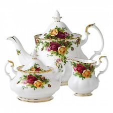 ROYAL ALBERT OLD COUNTRY ROSES TEA POT, CREAMER, SUGAR & COMPLETER SET NIB