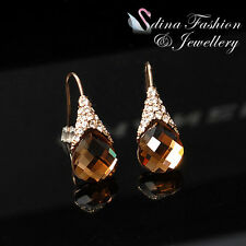 18K Rose Gold Plated Swarovski Crystal Exquisite Coffee Dangle Earrings